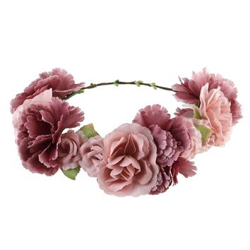 ULTNICE Flower Wreath headband Floral Garland Crown Hair Accessories with Ribbon for Wedding Featival Party Light Cafe