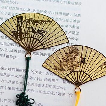 1pcs/lot , Classic Chinese Fan Bookmarks with Chinese Knot , Best Gift Book Page Marker