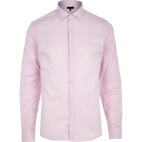 River Island MensLight pink stripe long sleeve shirt