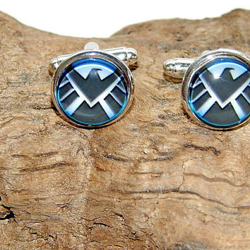 Marvel shield logo superhero cufflinks, Agents of shield simbol, Marvel agents symbol, Marvel emblem, Marvel patch, marvel team cuff links