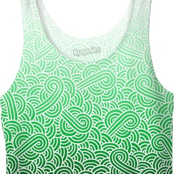 Ombre green and white swirls doodles Crop Top