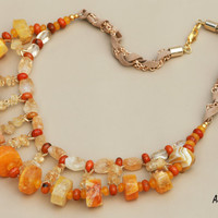 Sun- beautiful handmade beaded citrine, agate, opal statement chunky gemstone necklace, ideal for handcrafted gift of semi precious stones