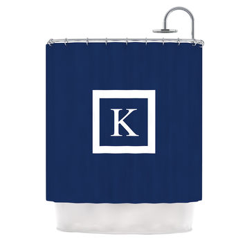 "KESS Original ""Monogram Solid Navy"" Shower Curtain"
