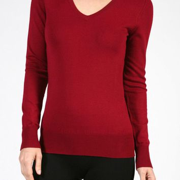 Casual Long Sleeve V-Neck Classic Thin Pullover Light Knit Sweater