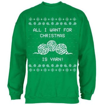 ESBGQ9 I Want Yarn Knitting Ugly Christmas Sweater Mens Sweatshirt