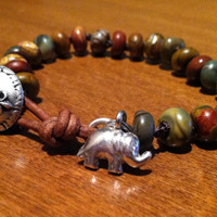 Lucky Elephant Sterling Silver Knotted Bracelet, OOAK,