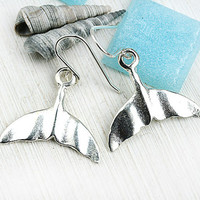 Whale Tail Earrings, Beach Jewelry, Nautical Earrings, Sea Jewelry, Silver whale tail, Ocean Jewelry, Beach Earrings