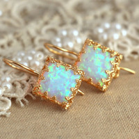 White Opal lever back earrings Green bridesmaids gift - 18 k Gold filled Crown settings Opal stone spring summer collection.