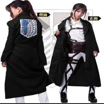 Cool Attack on Titan Eren Jaege Cosplay Anime  Levi Rivaille Jacket Cloak Adult Halloween Carnival Cosplay Costume Eren Jaege Jackets AT_90_11
