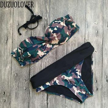 Camouflage Bikini High Waist Swimsuit High Neck Swimwear Camo Bandage Cross Bathing Suit Women Army Green Bathing Wear