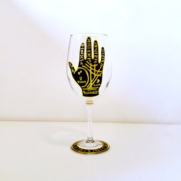 Palmistry Hand, Wine Glass, Hand Painted, Fortune Teller, Psychic Gifts, Black and Gold, Obscure, Wicca, Gypsy, Dark Art, Tarot, Astrology