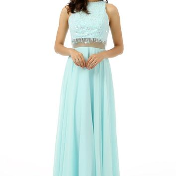 Two Pieces 2018 Prom Dresses A-line High Collar Chiffon Beaded Sequins Turquoise Long Prom Gown Evening Dresses Evening Gown