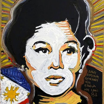 Imelda Marcos Original Portrait Painting 16x20 Pop Art Painting Fine Art Oil Painting Filipino Philippines Gifts for Her Valentines Day