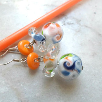 Lampwork Earrings, Spring Fashion Glass Earrings, Dangle Drop, Handmade Lampwork Beads, Artisan Jewelry Gift for Mother's Day