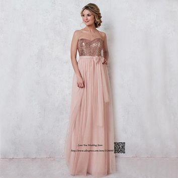 2017 Blush Pink Bridesmaid Dresses Long Sequined Tulle Floor Length Cheap Wedding Guest Dress Vestido de Festa de Casamento