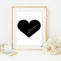 black and gold art print love printable heart gold glitter love printable wedding decor nursery art dorm room decor gold glitter love print
