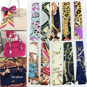 Spring Women Silk Scarf Women Luxury Twilly Ribbon Bag Tied Handle Small Ribbon Scarf E5690a