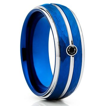 Blue Tungsten Wedding Band - Black Diamond Tungsten Ring - Hammered Ring