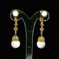 Dangling Mother of Pearl Bead Earrings, Antiqued Gold Tone Setting, Bridal Jewelry, Clip On Style, Romantic Style 1117