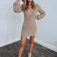 Going Far Dress: Taupe
