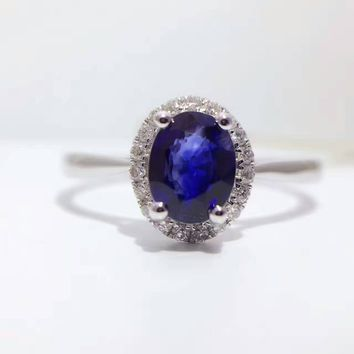 18K Gold 0.819ct Natural Sapphire Women Ring with 0.106ct Diamond Setting 2016 New Fine Jewelry Wedding Band Engagement
