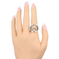 Fashion Casual Women Ring Vintage Jewelry Girls Ring Unique Men Peace Sign Ring Best Christmas Gift Rings-48