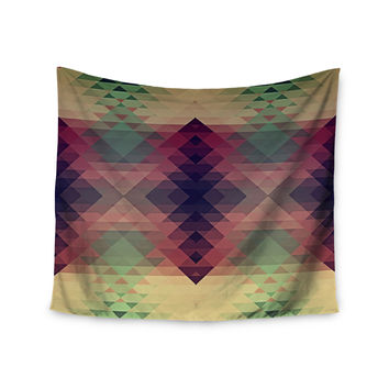 "Nika Martinez ""Hipsterland"" Maroon Green Wall Tapestry"