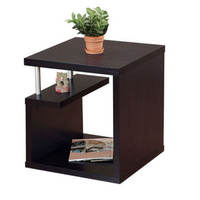 Modern End Table Living Room Furniture Multi Storage Matte Red Cocoa Finish New