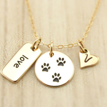 Personalized Paw Print Necklace, Pet Initial Heart Charm, Love Word Charm, Dog Lover, Cat Lover, Animal Lover Jewelry, Veterinarian Gift