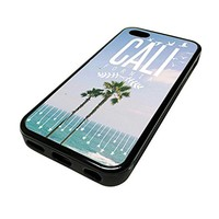 For Apple Iphone 5 or 5s Cute Phone Cases for Girls Surf City Palm Trees California Beach Teens Design Cover Skin Black Rubber Silicone Teen Gift Vintage Hipster Fashion Design Art Print Cell Phone Accessories