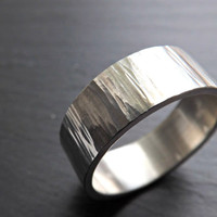 mens ring silver, personalized men ring, grass ring silver, wood silver ring, mens wedding band, cool mens ring silver, rustic mens ring