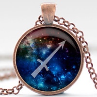 Sagittarius Nebula Necklace, Zodiac Pendant in Your Choice of Finish (1265)