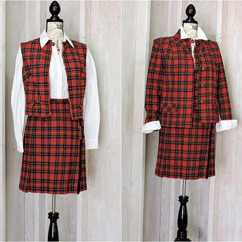 Vintage Pendleton 1960s suit / S size 5 / 6 / womens kilt / 3 piece wool tartan skirt suit / red plaid skirt vest blazer
