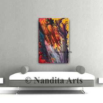 Original Abstract MODERN ART, Contemporary Art Gallery Oil PAINTINGS Large Red Acrylic String Wall Art Decor Modern Paintings Artist Nandita