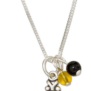 """Sterling Silver Necklace:  18"""" Bumble Bee Pendant Necklace With Black And Yellow Beads"""