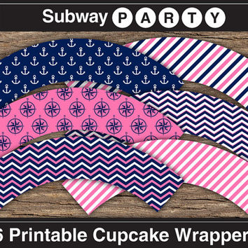 INSTANT DOWNLOAD Nautical Printable Cupcake Wrappers. Navy Blue, Pink, White Chevron, Stripes, Anchors and Compasses Patterns. 8x11 JPG.