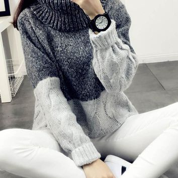 Women Casual Female Thick Knitting Turtleneck Loose Brief Thermal Patchwork Black Coffee Jumper Korean Preppy Autumn Sweater