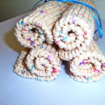 Hand crafted knit dish cloth Set of 4--Beige flecked with blue, pink, purple