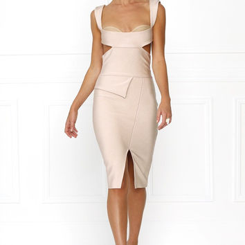 Adele Blush Cutout Bandage Dress
