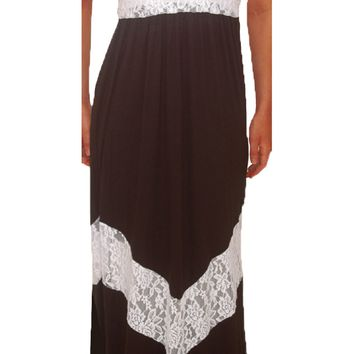 Funfash Plus Size Black White Lace Chevron Maxi Long Dress Women Dress