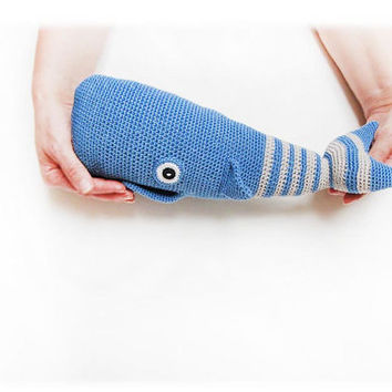 sperm whale, pillow for baby, knitted whale, striped whale, blue, Amigurumi, fish sea crochet, soft toys, baby gift, cute toy,