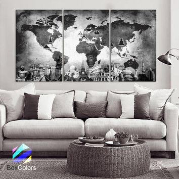 "LARGE 30""x 60"" 3 Panels Art Canvas Print Original Wonders of the world Old Map Black & White Wall decor Home interior (framed 1.5"" depth)"