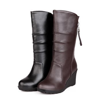 New women shoes fashion boots Wedges Round Toe autumn winter boots Solid high quality soft pu leather Mid-Calf boots for women