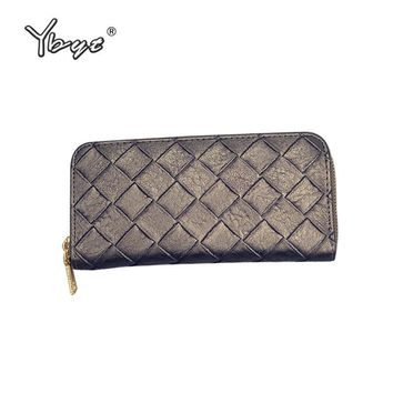 YBYT brand 2017 new knitting PU leather package women evening clutch fashion casual zipper pack female wallet ladies long purse