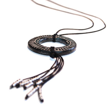 Ceramic necklace, ceramic jewelry - black, greyblue and silver, ring, dreamcatcher