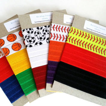 team colors sports hair tie packs, custom colors, you pick sport and 2 colors, FOE knot elastic ponytail holders, softball volleyball soccer