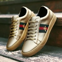 Casual Stylish On Sale Hot Deal Comfort Hot Sale Star Embroidery Shoes Flat Leather Gold Fashion Sneakers [11966580371]