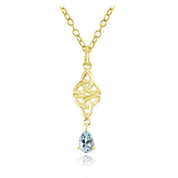 Celtic Trinity Knot Teardrop Blue Topaz Necklace in Gold Plated Sterling Silver