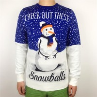 """Men's Ugly Christmas """"Check Out These Snowballs"""" Sweater"""