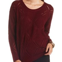 Pointelle Open Knit Pullover Sweater by Charlotte Russe - Oxblood